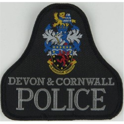 Devon & Cornwall Police Pullover Badge Bell Shape + Crest  Woven UK Police or Prison insignia