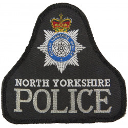 North Yorkshire Police Pullover Badge Bell Shape + Crest with Queen Elizabeth's Crown. Woven UK Police or Prison insignia