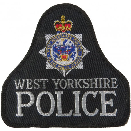 West Yorkshire Police Pullover Badge - Without Lines Bell Shape + Crest with Queen Elizabeth's Crown. Woven UK Police or Prison