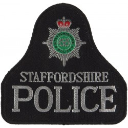 Staffordshire Police Pullover Badge Bell Shape + Crest with Queen Elizabeth's Crown. Woven UK Police or Prison insignia