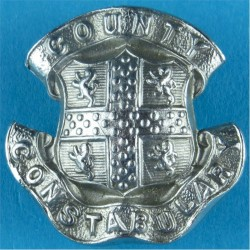 Durham County Constabulary Collar Badge  Chrome-plated UK Police or Prison insignia