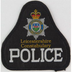 Leicestershire Constabulary Police Pullover Badge Bell Shape + Crest  Woven UK Police or Prison insignia