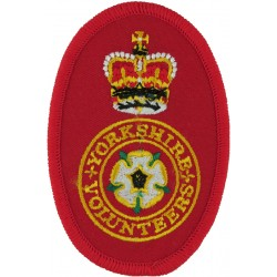 Yorkshire Volunteers On Red Oval with Queen Elizabeth's Crown. Embroidered Track-Suit Badge
