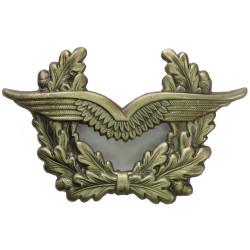 German Air Force Cap Badge Wings In Oak Wreath  Gunmetal Foreign Air Force insignia
