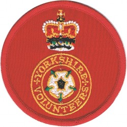 Yorkshire Volunteers On Red Circle with Queen Elizabeth's Crown. Embroidered Track-Suit Badge