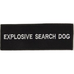Explosive Search Dog - White On Black Badge Large On Velcro  Embroidered