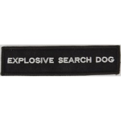 Explosive Search Dog - White On Black Harness Badge Small On Velcro  Embroidered