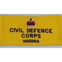 Civil Defence Corps Warden Armband (Regional Staff) Navy Blue On Yellow with Queen Elizabeth's Crown. Embroidered Arm-Band or Br