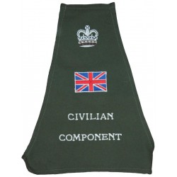 Brritish Military Civilian Component Olive Brassard Crown / Union Jack with Queen Elizabeth's Crown. Embroidered Arm-Band or Bra