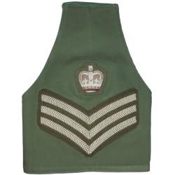 Guards Colour Sergeant Reversible Brassard Olive / Dark Green with Queen Elizabeth's Crown. Embroidered Arm-Band or Brassard