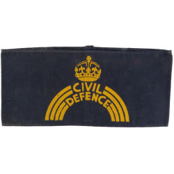 Civil Defence Armband Yellow On Navy Blue with King's Crown. Painted Arm-Band or Brassard