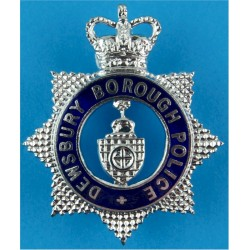 Dewsbury Borough Police - Senior Officers - Voided Cap Badge 1952-1968 with Queen Elizabeth's Crown. Chrome and enamelled Police
