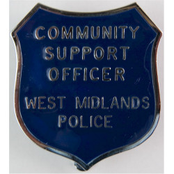 West Midlands Police Community Support Officer Shield Cap Badge  Chrome and enamelled Police or Prisons hat badge