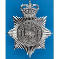 Leicestershire Constabulary - Shield Centre Helmet Star with Queen Elizabeth's Crown. Chrome-plated Police or Prisons hat badge