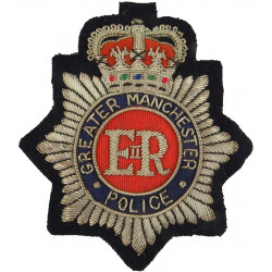 Greater Manchester Police - Chief Constable Cap Badge 95mm High with Queen Elizabeth's Crown. Bullion wire-embroidered Police or