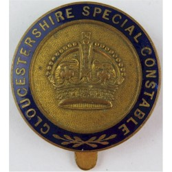 Gloucestershire Special Constable WW1 with King's Crown. Gilt and enamel Police or Prisons hat badge