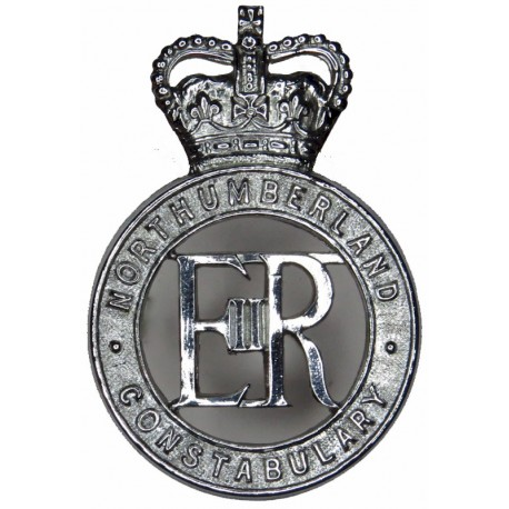 Northumberland Constabulary - EiiR Centre Cap Badge - Pre-1974 with Queen Elizabeth's Crown. Chrome-plated Police or Prisons hat