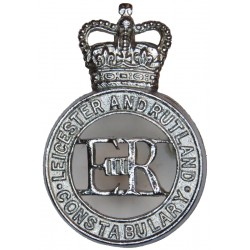 Leicester & Rutland Constabulary - EiiR Centre Cap Badge 1967-1974 with Queen Elizabeth's Crown. Chrome-plated Police or Prisons