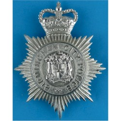 Birmingham City Police: Separate Coat Of Arms Centre Helmet Star Pre-1974 with Queen Elizabeth's Crown. Chrome-plated Police or