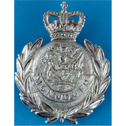 Monmouthshire Constabulary - Wreath Pattern Helmet Plate 1952-67 with Queen Elizabeth's Crown. Chrome-plated Police or Prisons h