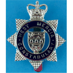 West Mercia Constabulary - Blue Circle Cap Badge 1967-2009 with Queen Elizabeth's Crown. Chrome and enamelled Police or Prisons