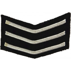 Police Sergeant  Female Chevrons - Thin Braid -Small Silver Wire On Black  Bullion wire-embroidered UK Police or Prison insignia