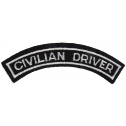 Police Civilian Driver - Curved Shoulder Title White On Black  Embroidered UK Police or Prison insignia