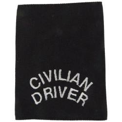 Police Civilian Driver - Long Slip-On Shouder Title White On Black  Embroidered UK Police or Prison insignia