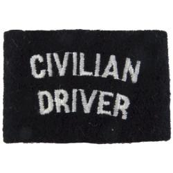 Police Civilian Driver - Short Slip-On Shouder Title White On Black  Embroidered UK Police or Prison insignia