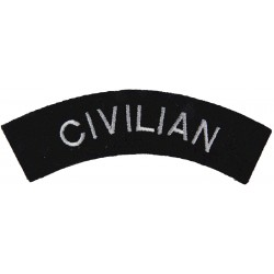 Police Civilian - Curved Shoulder Title White On Black  Embroidered UK Police or Prison insignia