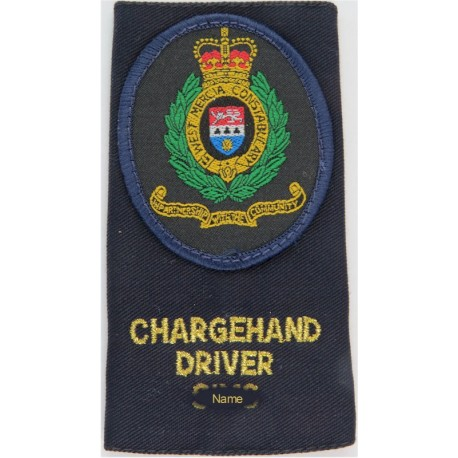 West Mercia Constabulary Chargehand Driver Shoulder Slide with Queen Elizabeth's Crown. Woven UK Police or Prison insignia