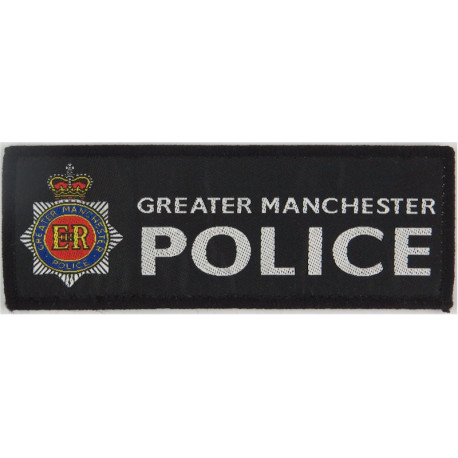 Greater Manchester Police - Black Rectangle + Crest 139mm X 50mm with Queen Elizabeth's Crown. Woven UK Police or Prison insigni
