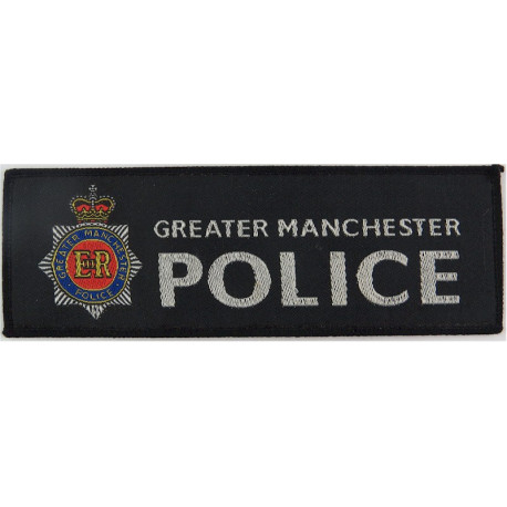 Greater Manchester Police - Black Rectangle + Crest 150mm X 51mm with Queen Elizabeth's Crown. Woven UK Police or Prison insigni