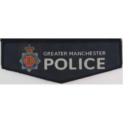 Greater Manchester Police - Blue Pentagon + Crest Pocket-Flap Shape with Queen Elizabeth's Crown. Woven UK Police or Prison insi