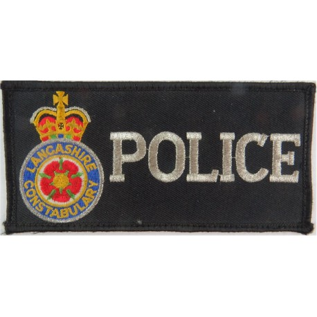 Lancashire Constabulary - Black Rectangle + Crest 135mm X 67mm with Queen Elizabeth's Crown. Embroidered UK Police or Prison ins