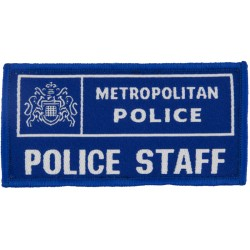 Metropolitan Police Staff Chest Badge Mid-Blue Rectangle with Queen Elizabeth's Crown. Woven UK Police or Prison insignia