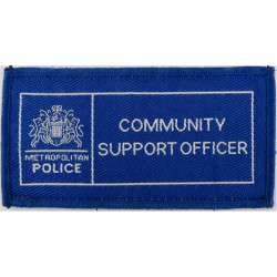 Metropolitan Police Community Support Officer Mid-Blue Rectangle with Queen Elizabeth's Crown. Woven UK Police or Prison insigni