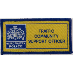 Metropolitan Police Community Support Officr Traffic Yellow Rectangle with Queen Elizabeth's Crown. Woven UK Police or Prison in