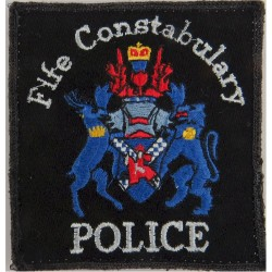 Fife Constabulary 'Police' Pullover Badge 85 X 90mm With Blue Crest with Queen Elizabeth's Crown. Embroidered UK Police or Priso