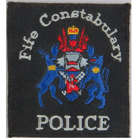 Fife Constabulary 'Police' Pullover Badge 84 X 93mm With Blue Crest with Queen Elizabeth's Crown. Embroidered UK Police or Priso
