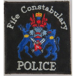 Fife Constabulary 'Police' Pullover Badge 80 X 92mm With Blue Crest with Queen Elizabeth's Crown. Embroidered UK Police or Priso