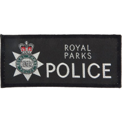 Royal Parks Police Pullover Badge Rectangular + Crest with Queen Elizabeth's Crown. Woven UK Police or Prison insignia