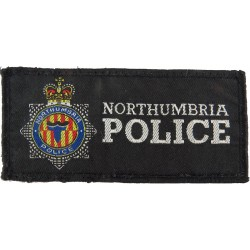 Northumbria Police Body Armour Badge - 100mm X 47mm Rectangle (Female) with Queen Elizabeth's Crown. Woven UK Police or Prison i