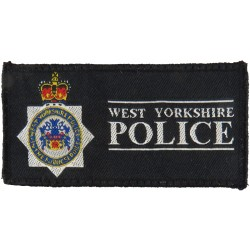 West Yorkshire Police - Rectangle + Crest 87mm X 43mm with Queen Elizabeth's Crown. Woven UK Police or Prison insignia