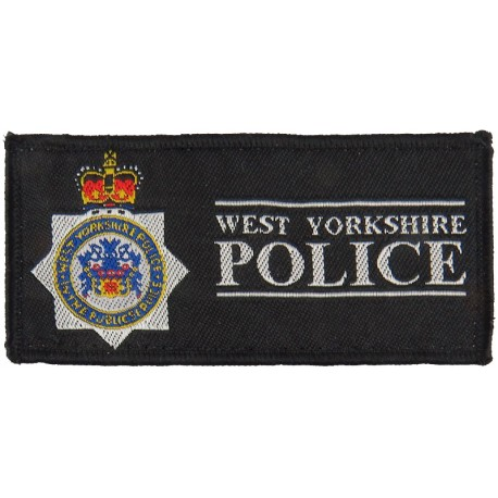 West Yorkshire Police - Rectangle + Crest 94mm X 45mm with Queen Elizabeth's Crown. Woven UK Police or Prison insignia