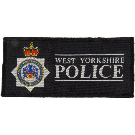 West Yorkshire Police - Rectangle + Crest 110mm X 50mm with Queen Elizabeth's Crown. Woven UK Police or Prison insignia