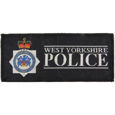 West Yorkshire Police - Rectangle + Crest 125mm X 54mm with Queen Elizabeth's Crown. Woven UK Police or Prison insignia