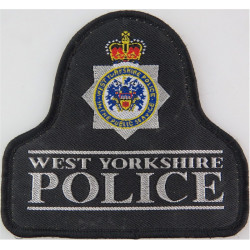 West Yorkshire Police Pullover Badge - With Lines Bell Shape + Crest with Queen Elizabeth's Crown. Woven UK Police or Prison ins