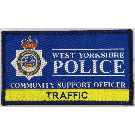 West Yorkshire Police Community Support - Traffic 100mm X 55mm with Queen Elizabeth's Crown. Woven UK Police or Prison insignia