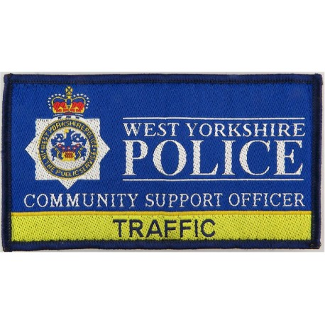 West Yorkshire Police Community Support - Traffic 122mm X 67mm with Queen Elizabeth's Crown. Woven UK Police or Prison insignia